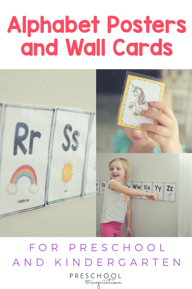 Use these alphabet wall cards or alphabet posters as a visual way to learn the alphabet for preschoolers and kindergartners. #preschool #prek #kindergarten #alphabet #literacycenters #alphabetposters #alphabetcards #alphabetprintable