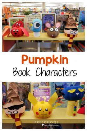 Make these pumpkin book character crafts for Halloween or fall. #preschool #kindergarten #Halloween #readalouds #literacy #crafts #pumpkinactivities