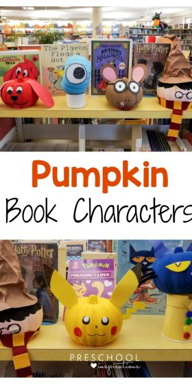 Make these pumpkin book character crafts for Halloween or fall. #preschool #kindergarten #Halloween #readalouds #literacy #crafts #pumpkinactivities