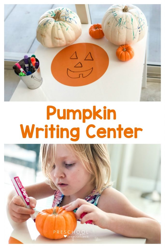Make a pumpkin writing center as a Halloween activity for preschool and fine motor practice at the same time. #preschool #prek #toddlers #halloween