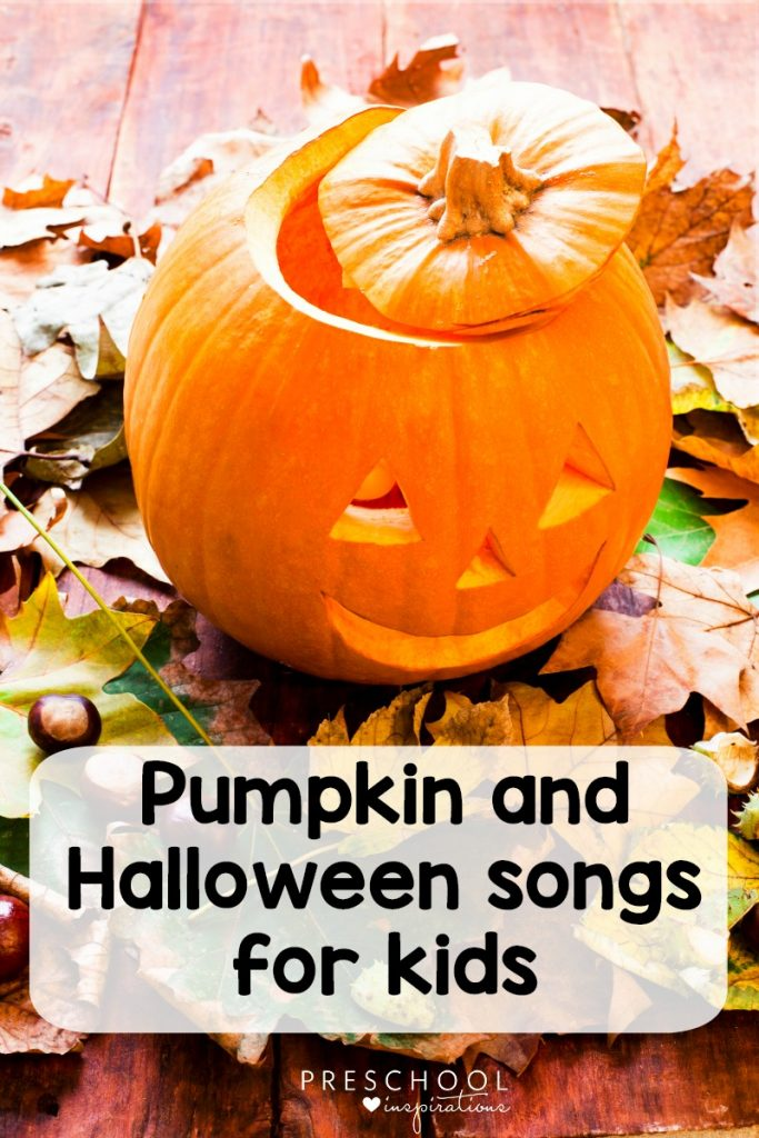 Halloween music with pumpkin songs and Halloween songs for kids. #toddlers #preschool #prek #kindergarten #halloween