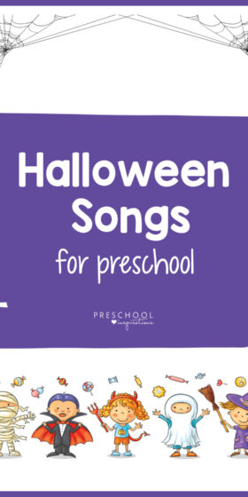 Halloween songs for kids! These are great Halloween party songs, or perfect for circle time or use at home! There are also some great jack-o-lantern and pumpkin songs, too. #preschoolinspirations #preschool #prek #songsforkids #kidsmusic #halloween #halloweensongs #halloweenpartysongs