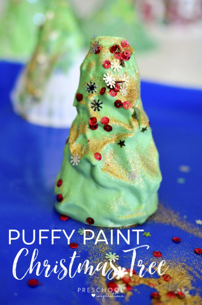Make a puffy paint Christmas tree art activity for the perfect Christmas craft idea #preschool #kindergarten #Christmas #art