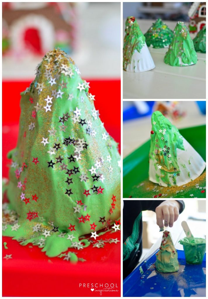 Paper Plate Christmas trees with puffy paint for kids #Christmas #preschool #art #kindergarten