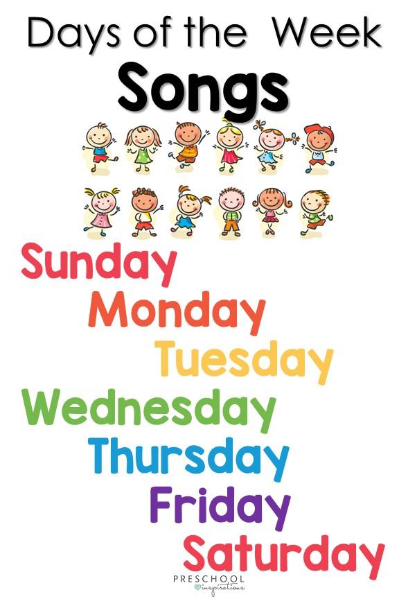 Find the perfect calendar song for use in circle time or when learning about the days of the week! This comprehensive list also includes sign language songs and songs in Spanish. #preschool #prek #circletime #calendar #songsforkids