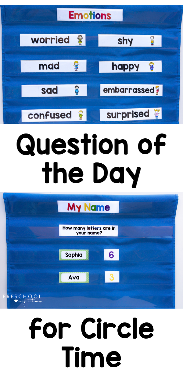 Use Question of the Day cards in circle time for less behavior issues and more engaged kids! Teaches literacy skills, math skills, and social/emotional growth. #preschool #circletime #classroom #questionoftheday