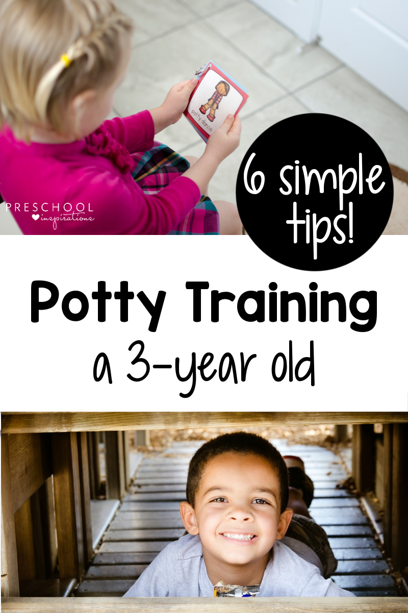 6 simple tips for potty-training a 3-year old! A veteran preschool teacher and mom of 3 shares the best tips to make the process a peaceful one. Perfect for both boys and girls!