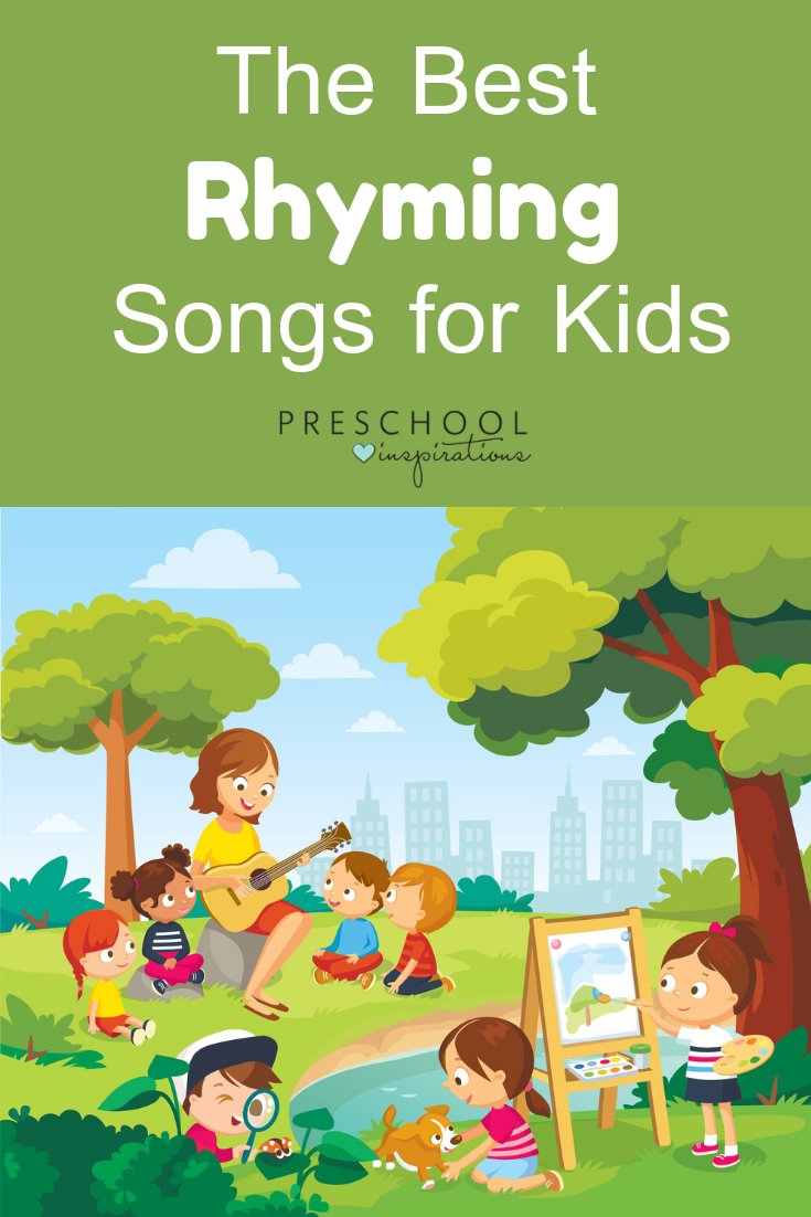 These rhyming songs are the best out there! Rhyming develops literacy skills, promotes language development, improves memory, and has a whole host of other benefits for preschoolers and kindergarteners! #preschool #prek #kindergarten #literacy #language