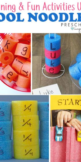 Pool noodle learning activities that can be done outside the pool! Strengthen literacy, math, and alphabet skills using pool noodles. #preschool #summer #kidsactivities #literacy