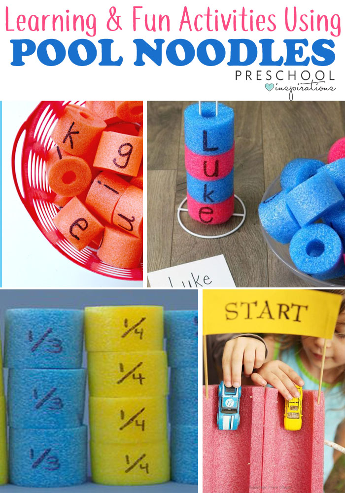 Pool noodle hacks for learning and summer themed activities for preschool or kindergarten.