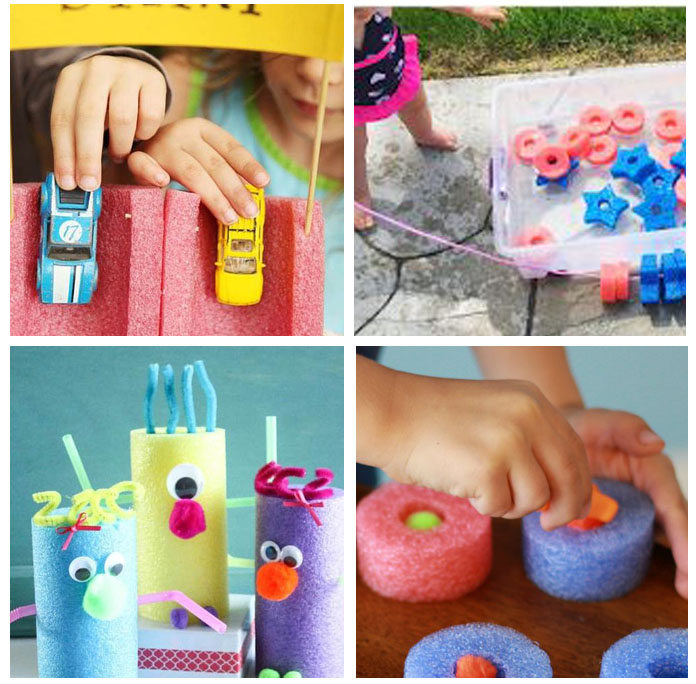 Exciting activities that include Pool Noodles but instead of the pool, they help children strengthen skills with engaging activities!
