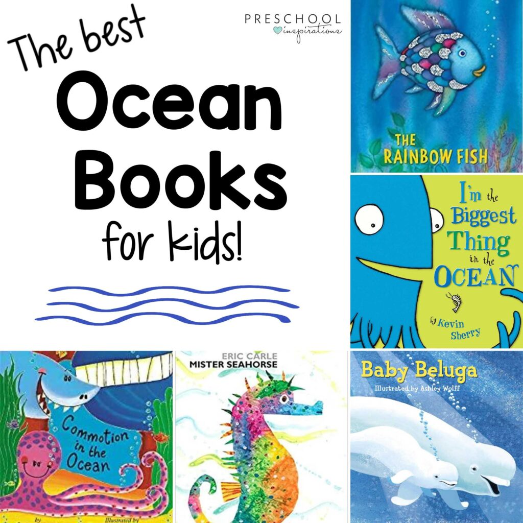 square image of 5 different books about the ocean with the title the best ocean books for kids