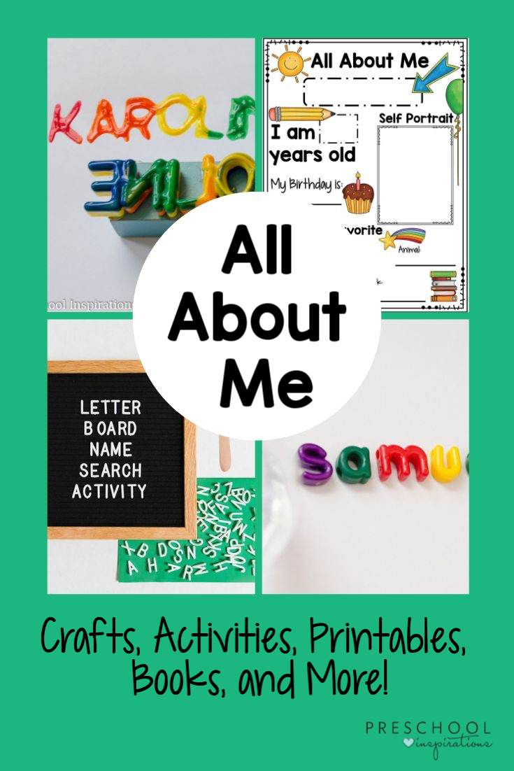 collage of four all about me activities and the text 'all about me'