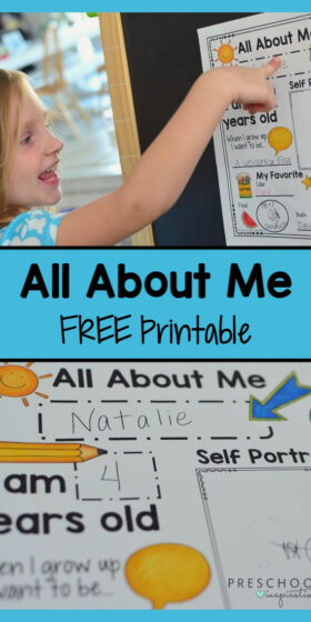 Get a FREE printable All About Me poster! Several options to choose from. Great for an All About Me preschool theme, back to school, or just marking those treasured milestones. #preschool #prek #allaboutme #backtoschool