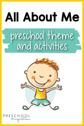 pinnable image of a clipart happy boy and the text 'all about me preschool theme and activities'