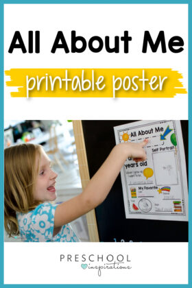 pinnable image of a young girl pointing to a poster and the text 'all about me printable poster'