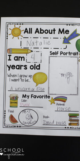 photograph about Free Printable All About Me Posters titled Katie T. Christiansen, Writer at Preschool Inspirations
