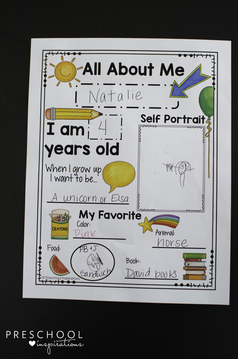 graphic regarding Free Printable All About Me Poster identify Printable All With regards to Me Poster for a Preschool Concept