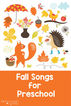 Fantastic fall songs for preschool! Find leaf songs, apple songs, grey squirrel songs, and more! Great for a preschool fall theme, circle time, or for older kids too! #preschoolinspirations #fall #songsforkids #kidsmusic