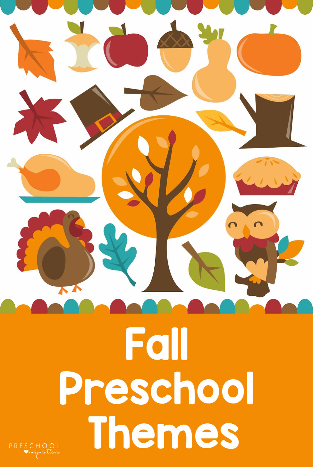 A great list of preschool themes for fall! You'll also find tons of activity and craft ideas, fall lesson plans, fall songs, and more! #preschoolinspirations #preschool #fall #fallcrafts #prek #fallactivities