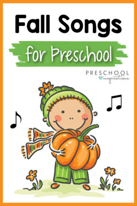 pinnable image of a clipart boy dressed for fall and holding a pumpkin with the text, 'fall songs for preschool'