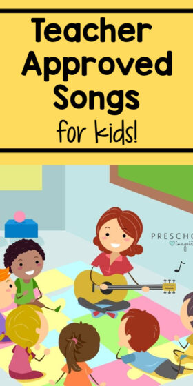 Fun list of teacher approved songs for kids! These all have a learning aspect to them, too! Use them in circle time, during transitions, or anytime throughout the day. #preschool #songsforkids #playandlearn #kidsmusic