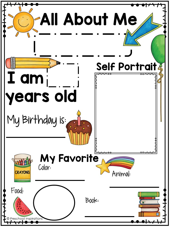photo about Free Printable All About Me Poster called Printable All Concerning Me Poster for a Preschool Concept