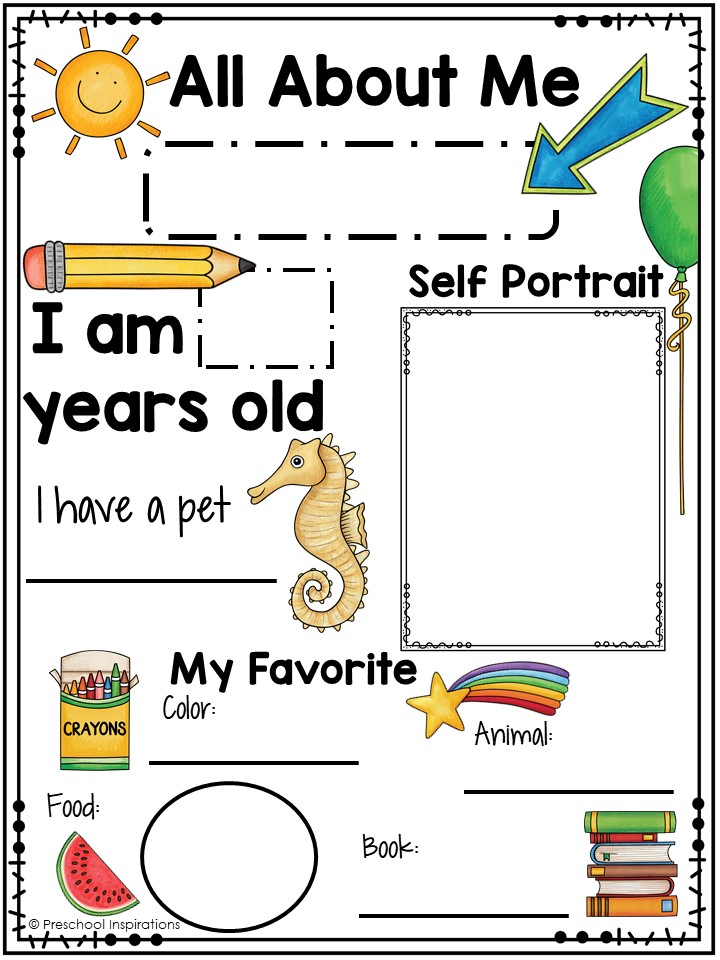 Printable All About Me Poster For A Preschool Theme - Preschool Inspirations