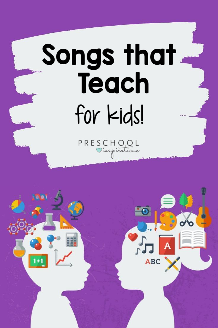 Music is an amazing teaching tool! All these songs are teacher-approved for their learning aspect! Find math songs, alphabet songs, literacy songs, all about me songs, and more! #preschool #literacy #songsforkids #playandlearn #kidsmusic