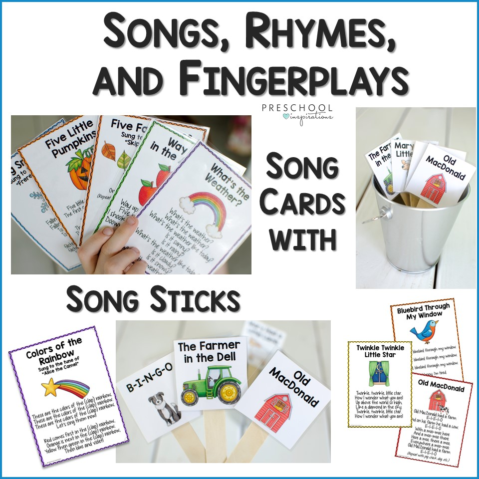 A collage of images showing colorful printable song cards with lyrics and song sticks with the song title and a cute vector image, with the text Songs, Rhymes, and Fingerplays Song Cards with Song Sticks