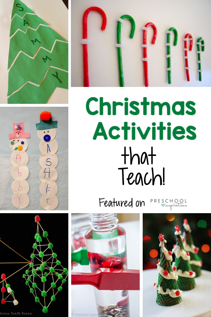 Teachers, parents, and kids alike are sure to love these preschool Christmas activities that teach! Find fun themed science, math, motor skills, and other activities! #preschool #prek #kindergarten #christmas #christmasforkids #christmasactivities #playandlearn #learningactivities