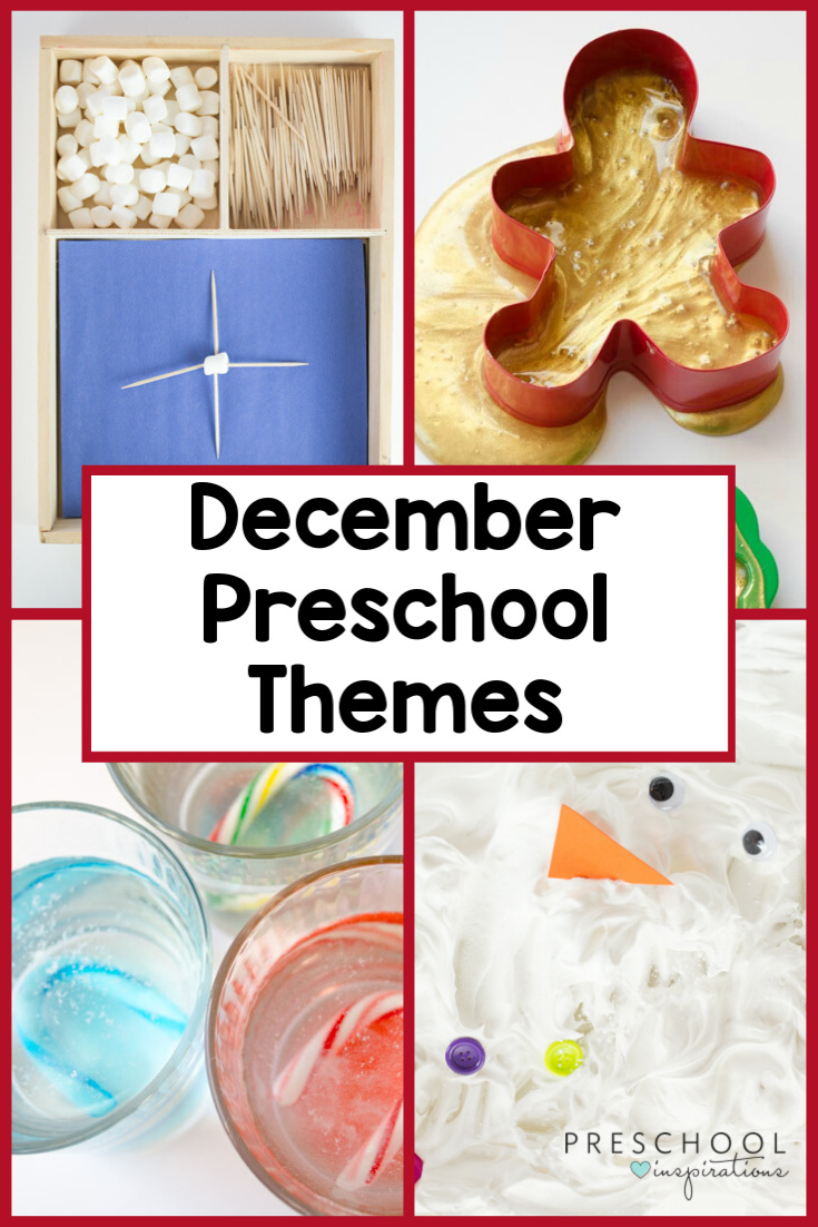 Use these preschool themes for December to keep the learning going all month long! Includes winter theme, Christmas theme, Gingerbread theme, and more! #preschool #preschoolthemes #wintertheme #Christmas #gingerbread #gingerbreadtheme