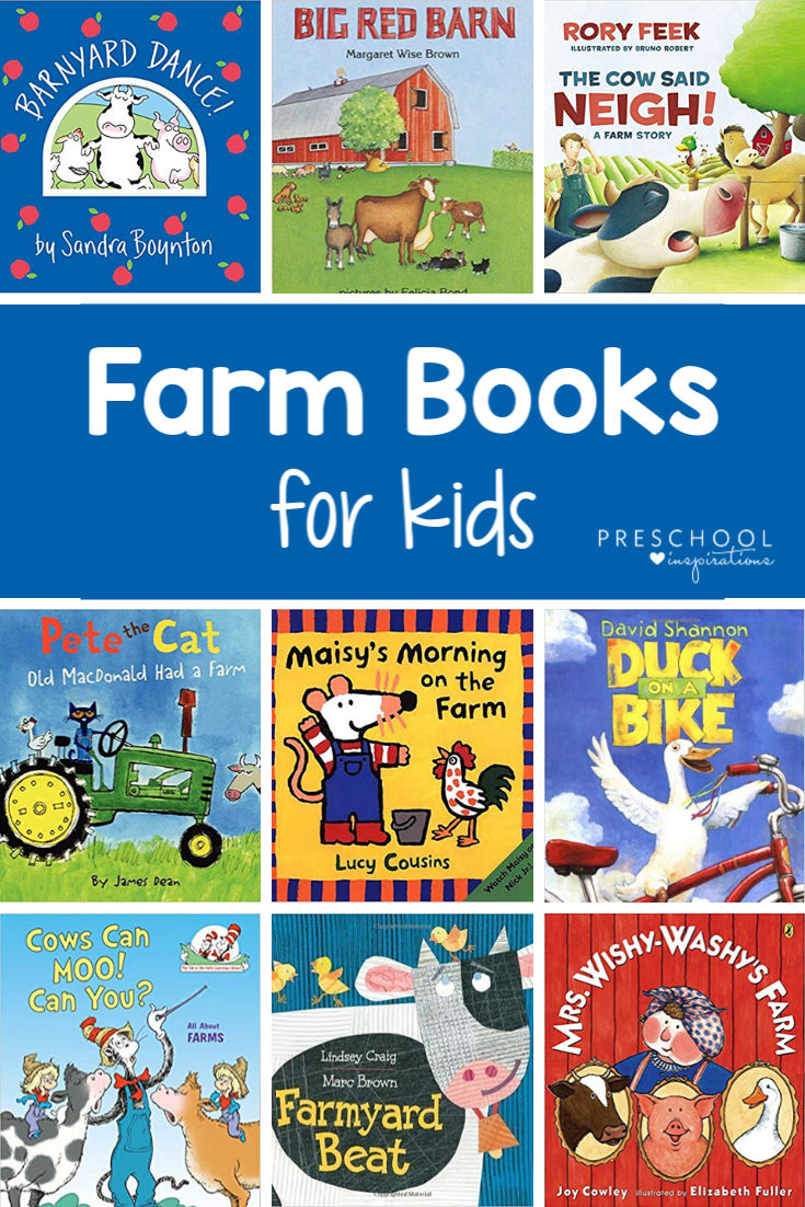 Books perfect for a farm or farm animals preschool theme! Wonderful books for circle time about farms, farming, farm to table, and more! #preschoolinspirations #preschool #farm #farmtheme #farmanimals