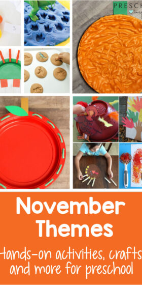 TONS of ideas of themes to use in your preschool classroom this November! Includes fall and Thanksgiving crafts, activities, ideas, and much more! Apple theme and pumpkin theme included. #preschool #preschoolthemes #pumpkin #appletheme