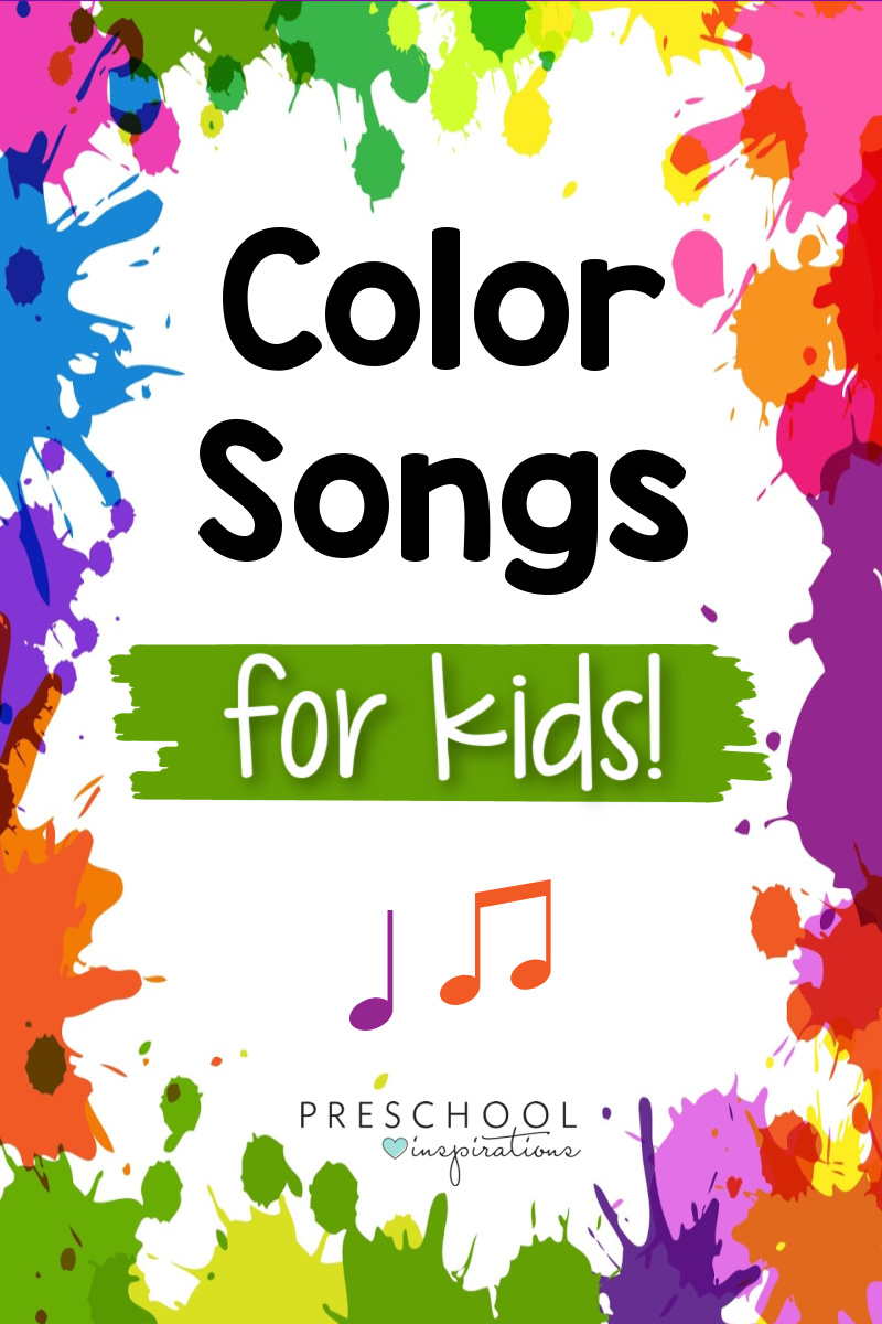 colorful frame of paint splotches with the text 'color songs for kids'