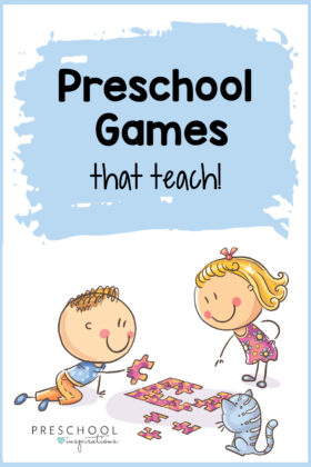 Games for preschool kids teach some great skills, but are also super FUN! These indoor group games are great for a classroom or at home with family. #preschool #preschoolgames #kidsactivities #playandlearn
