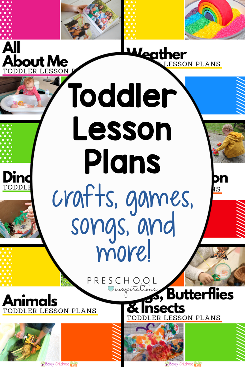 collage of six different lesson plan covers with the text 'toddler lesson plans crafts, cames, songs, and more!'