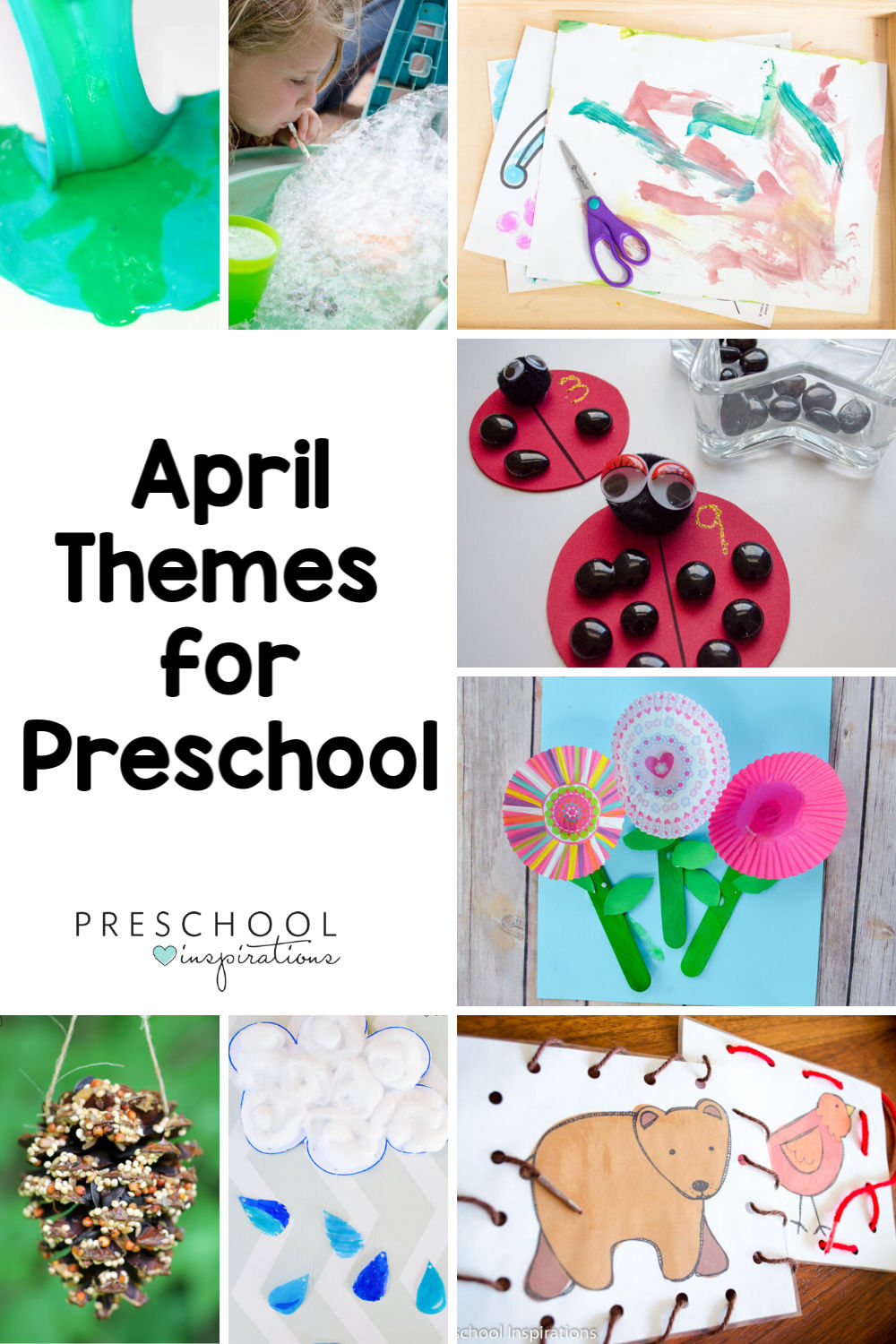 Everything you need to teach preschool this April using themes! Here's lesson plans, crafts, learning activities, and many more ideas for teaching this spring.