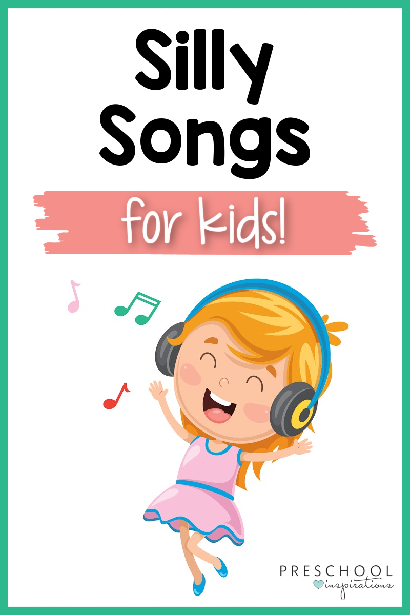 a cartoon girl with headphones singing a happy song with the text, 'silly songs for kids'