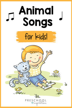 a cartoon boy with his arm around a cat with the text, 'animal songs for kids'
