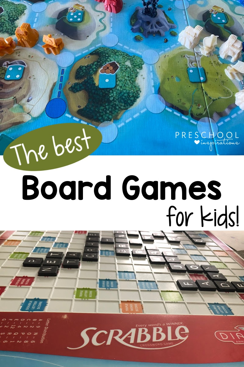 pinnable image of two different board games with the text the best board games for kids