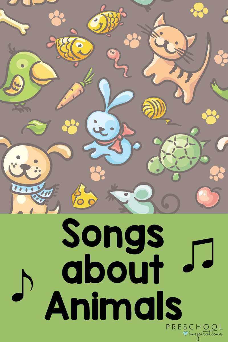 background pattern of pets and their food with the text 'songs about animals'