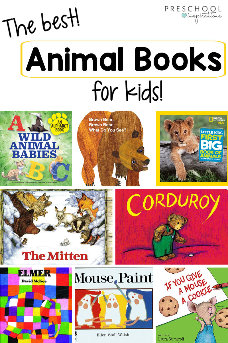 pinnable collage of book cover images with the text the best animal books for kids