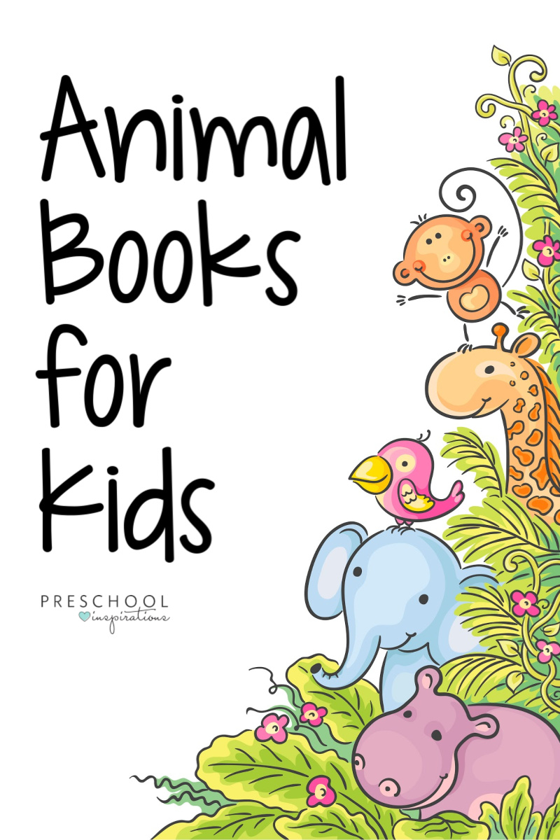 pinnable image of several cartoon jungle animals with the text animal books for kids