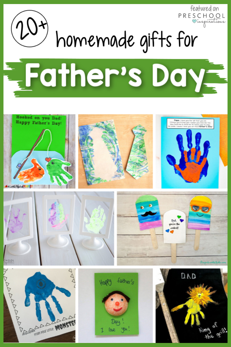 """collage of 8 father's day crafts with text """"20+ homemade gifts for father's day"""""""