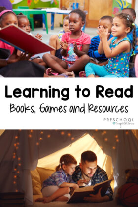 "Two images of children reading with a parent or teacher and the text ""learning to read books, games and resources"""