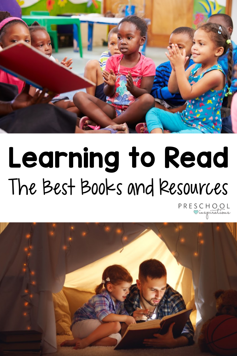 "Two images of children reading with a parent or teacher and the text ""learning to read; the best books and resources"""