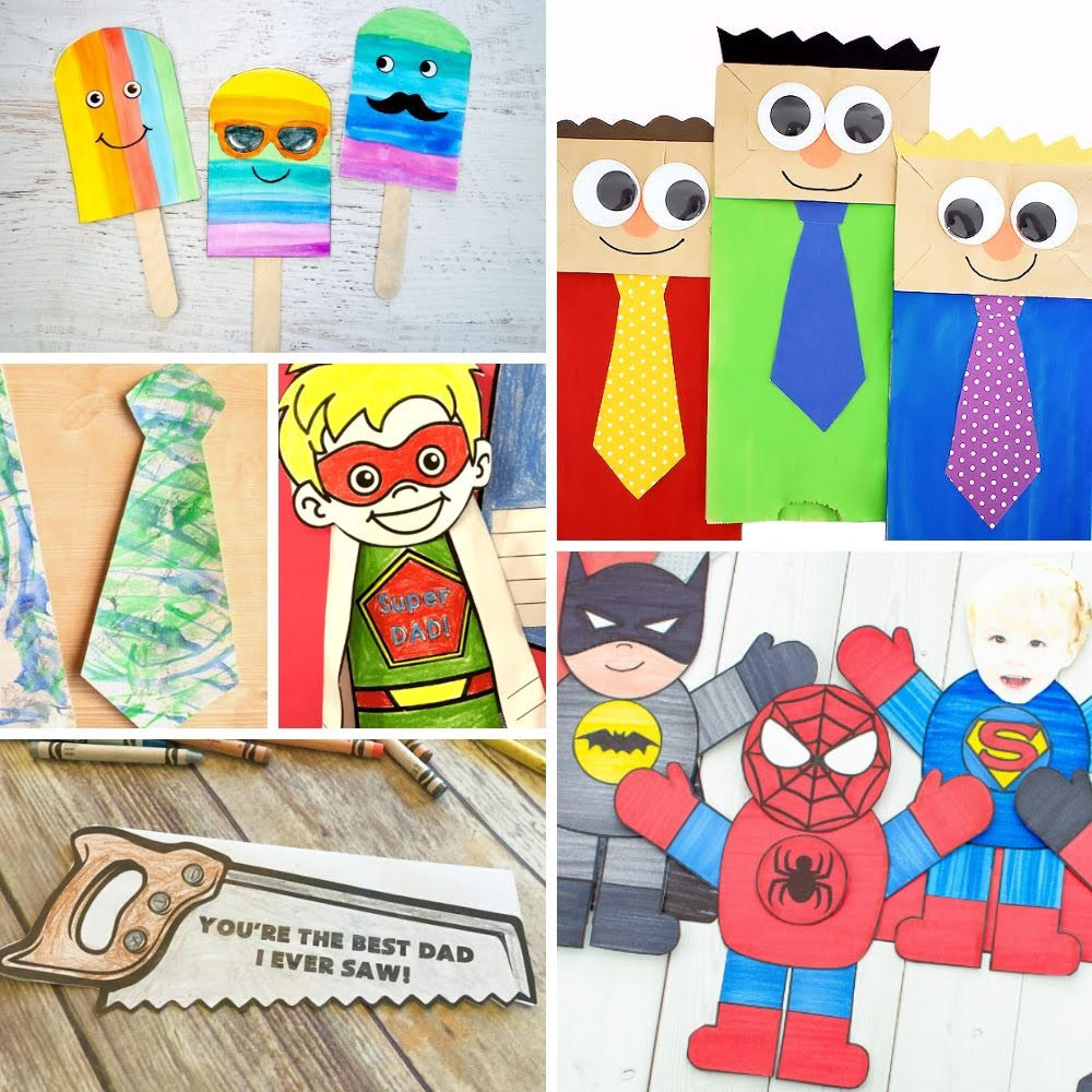 collage of 6 father's day craft ideas