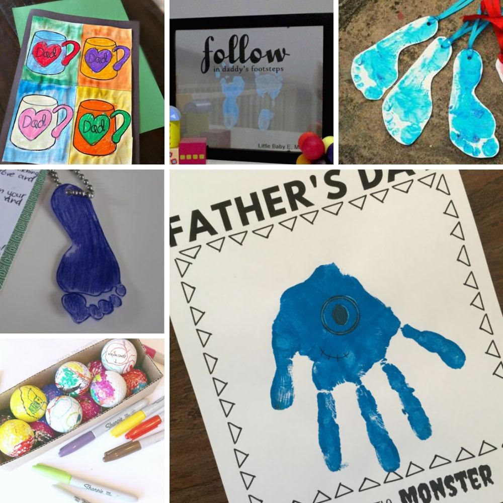 collage of 6 father's day crafts