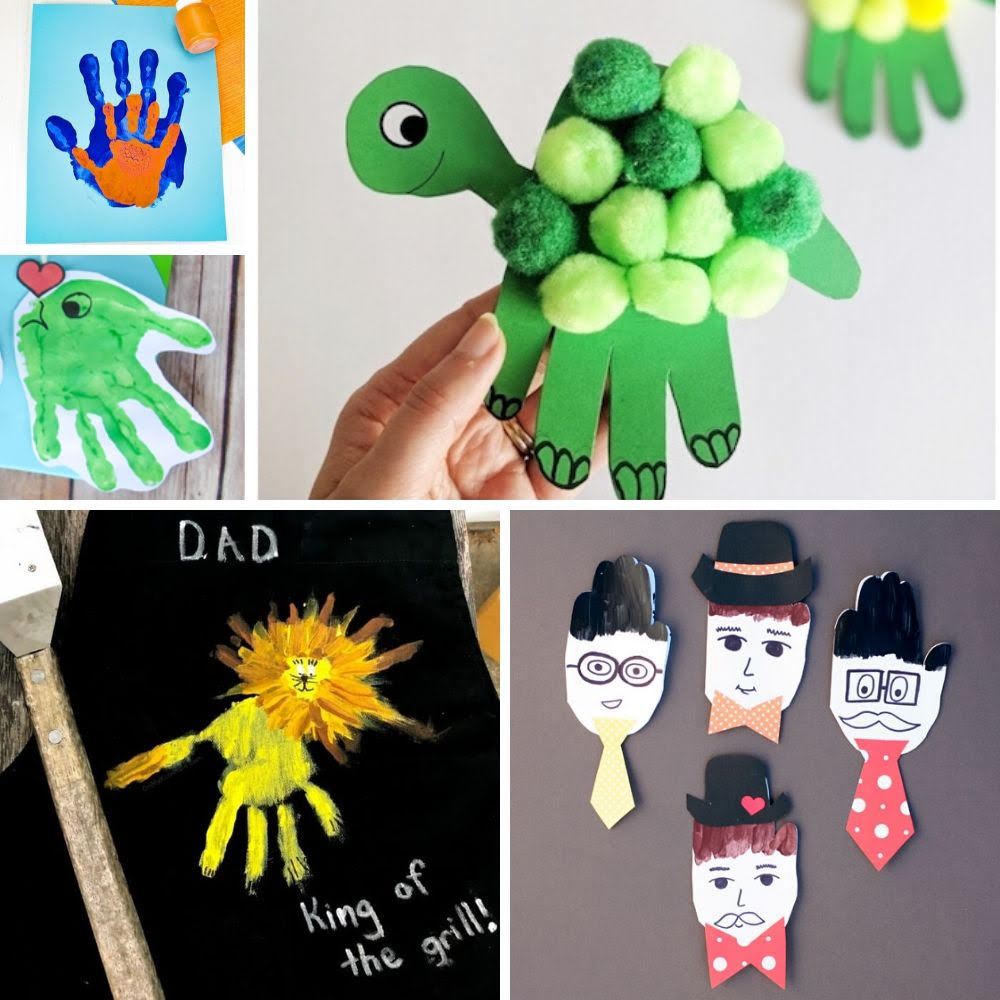 collage of father's day handprint crafts
